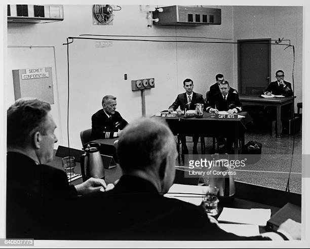 Commander Lloyd E Bucher commanding officer of the USS Pueblo a Navy ship captured by North Korea in the Sea of Japan in 1968 answers questions...