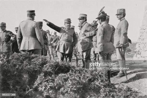 Commander Luigi Capello giving instructions to Colonel Gambi fighting at the Lombardia redoubt February 11 Derna Libya ItalianTurkish war photograph...