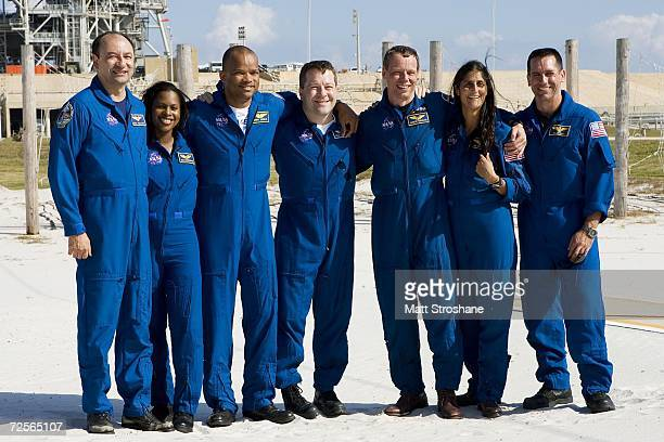 Commander Mark Polanksy, Mission specialists Joan Higginbotham, Robert Curbeam, Nicholas Patrick, Christer Fuglesang, a Swedish astronaut with the...