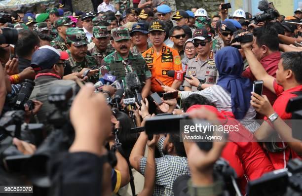 Commander Marshal Hadi Tjahjanto Head of National SAR Agency Syaugi M Syaugi and Chief of Police Tito Karnavian hold a press conference at Tigaras...