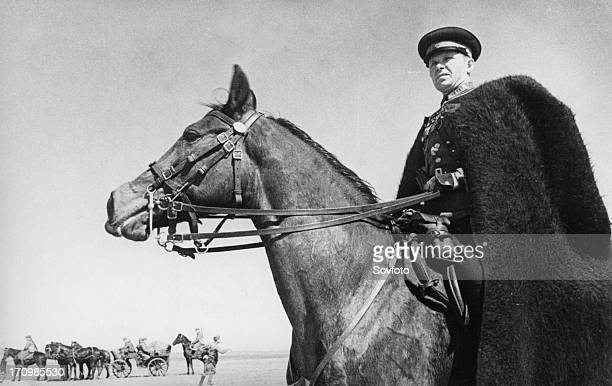 Commander of a cossack unit watching the progress of his troops on the southwestern front may 1942