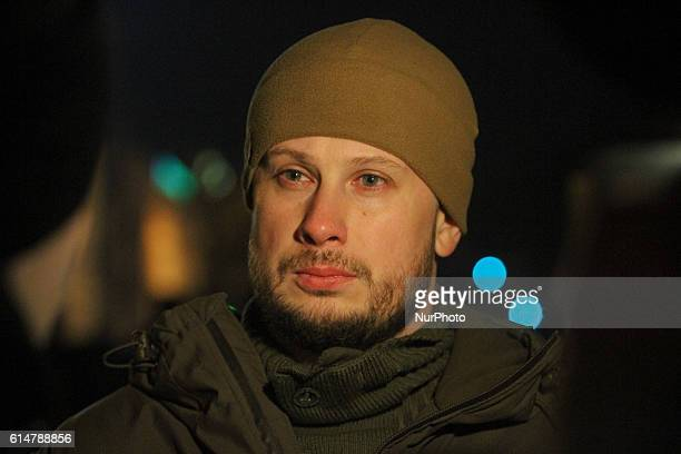 Commander of Azov battalion, the head of National Corps newly founded right-wing party, lawmaker Andriy Biletsky is seen during the rightists march...