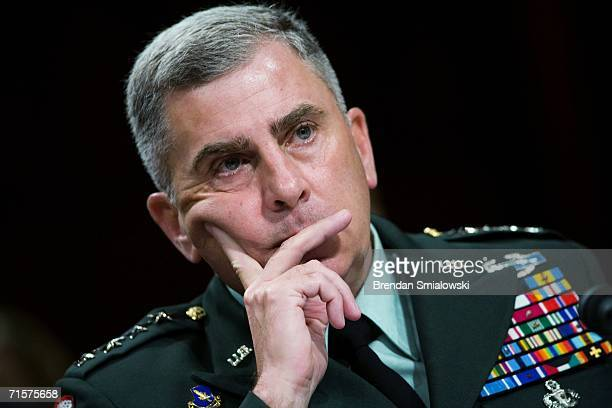Commander of Central Command US Army General John Abizaid listens to questions during a hearing of the Senate Armed Services Committee on Capitol...