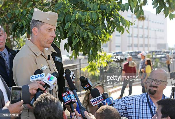 """Commander of Navy Base San Diego, Capt. Curt Jones addresses members of the media after an """"active shooter"""" was reported at the San Diego Miltary..."""