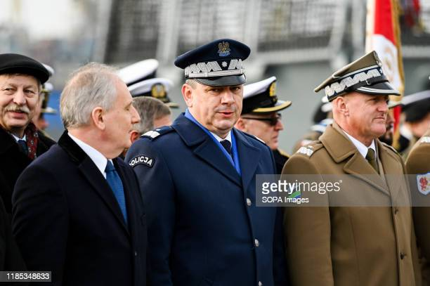 Commander of Provincial Pomeranian Police Jaroslaw Rzymkowski attends the 101st anniversary of the creation of the Polish Navy During the ceremony...