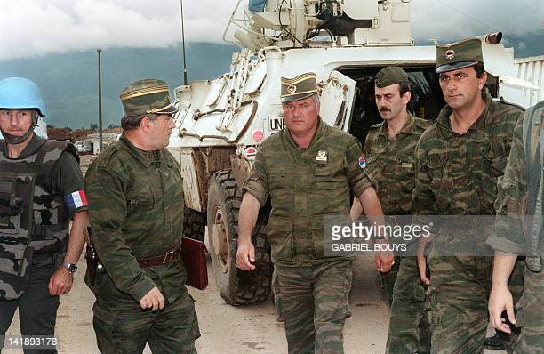 Commander of Serbian forces in Bosnia General Ratko Mladic arrives at the airport of Sarajevo on August 10 1993 in order to negociate the withdrawal...