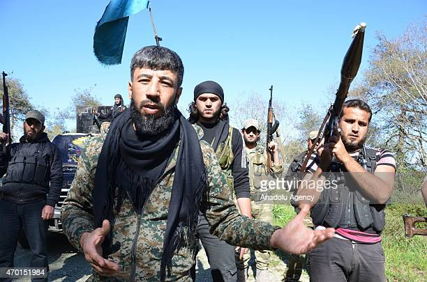 Commander of Sultan Abdul Hamid Khan brigade Omar Abdullah speaks when Turkmen troops arrive to deploy at the mountains in fight agains Syrian Regime...