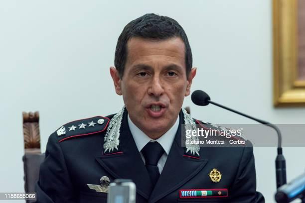 Commander of the Carabinieri Investigation Team, Colonel Lorenzo D'Aloia give a press conference on the investigation of the murder of the...