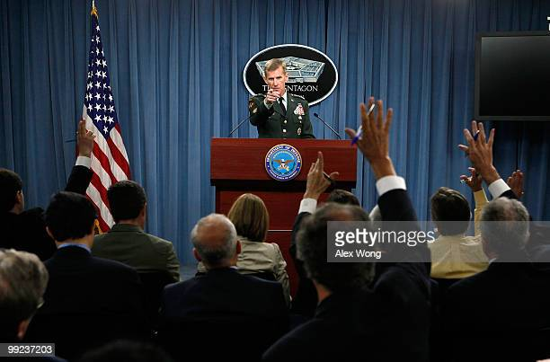 Commander of the International Security Assistance Force and Commander of US Forces Afghanistan General Stanley McChrystal speaks during a news...