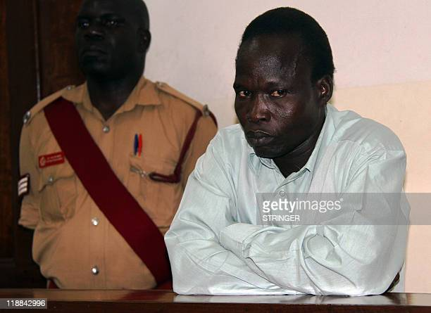 Commander of the Lord's Resistance Army rebellion Thomas Kwoyelo appears on July 11, 2011 before the International Crimes Division court in the...