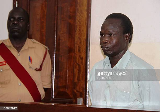 Commander of the Lord's Resistance Army rebellion Thomas Kwoyelo appears on July 11 2011 before the International Crimes Division court in the...
