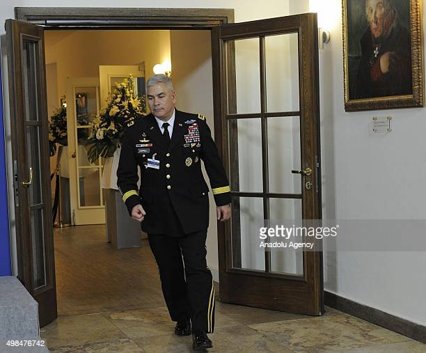 Commander of the Resolute Support Mission and United States Forces Afghanistan US General John F Campbell attends a meeting on NATOled Resolute...