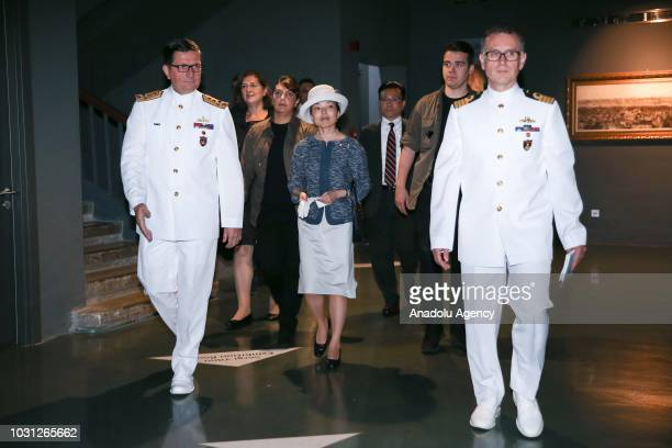 Commander of the Turkish Naval Forces Adnan Ozbal and Japanese Princess Akiko of Mikasa attend a ceremony held for delivery of the mockup of Japanese...