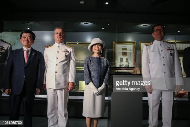 Commander of the Turkish Naval Forces Adnan Ozbal Japanese Princess Akiko of Mikasa and President of the JapanTurkey Society Eizo Kobayashi attend a...
