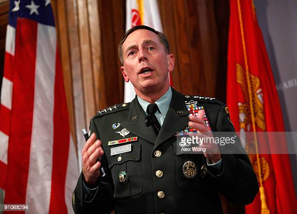 Commander of the US Central Command Gen David Petraeus addresses the Counterinsurgency Leadership in Afghanistan Iraq and Beyond symposium at the...