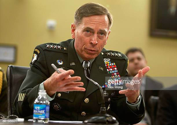 Commander of the US Central Command Gen David Petraeus testifies during a hearing before the Military Construction Veterans Affairs and Related...