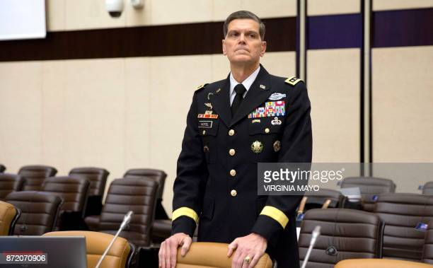 Commander of the US Central Command US Army General Joseph Votel waits for the start of a round table meeting on the second day of a defence...