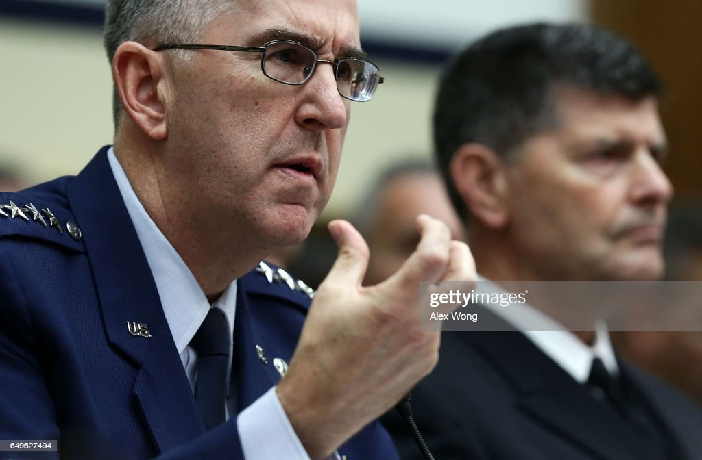 Commander of the U.S. Strategic Command Air Force Gen. John Hyten (L) and Vice Chief of Naval Operations Adm. Bill Moran testify during a hearing before House Armed Services Committee March 8, 2017 on Capitol Hill in Washington, DC. The committee held a hearing on 'Military Assessment of Nuclear Deterrence Requirements.'
