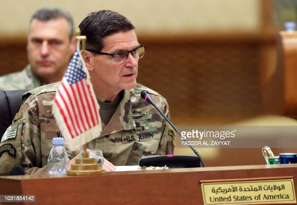 Commander of United States Central Command Joseph Leonard Votel speaks during a meeting with the Gulf cooperation council's armed forces chiefs of...
