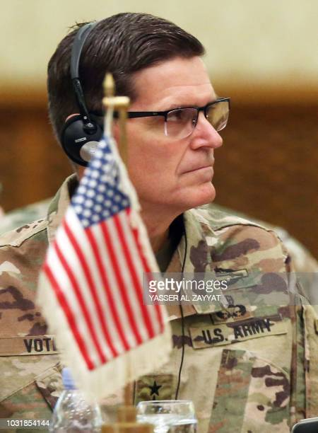 Commander of United States Central Command Joseph Leonard Votel listens during a meeting with the Gulf cooperation council's armed forces chiefs of...