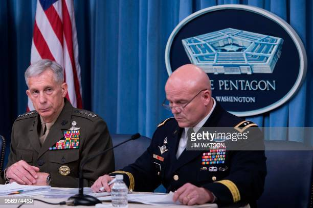 Commander of US Africa Command General Thomas Waidhauser and Chief of Staff for US Africa Command Major General Roger Cloutier Jr speak during a...