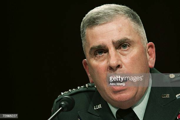 Commander of US Central Command Army Gen John Abizaid testifies during a hearing before the Senate Armed Services Committee November 15 2006 on...