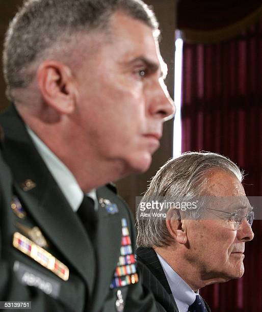 Commander of US Central Command Gen John Abizaid and Secretary of Defense Donald Rumsfeld testify during a hearing before the Senate Armed Services...