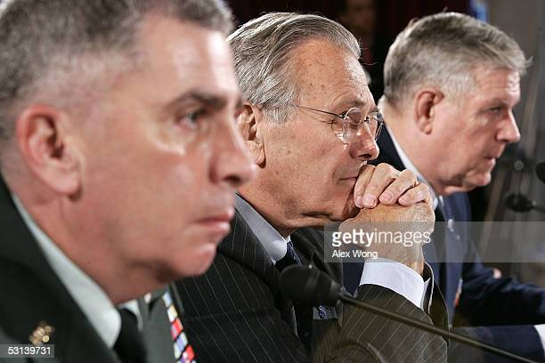 Commander of US Central Command Gen John Abizaid Secretary of Defense Donald Rumsfeld and Chairman of the Joint Chiefs of Staff Gen Richard Myers...