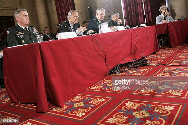 Commander of US Central Command Gen John Abizaid Secretary of Defense Donald Rumsfeld Chairman of the Joint Chiefs of Staff Gen Richard Myers and...