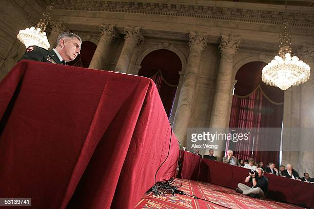 Commander of US Central Command Gen John Abizaid testifies during a hearing before the Senate Armed Services Committee June 23 2005 on Capitol Hill...