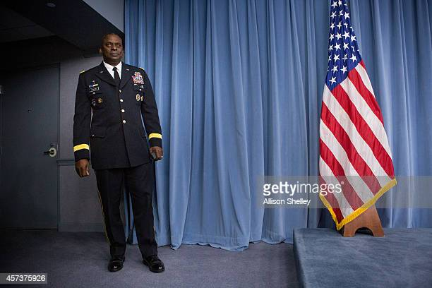 Commander of U.S. Central Command, Gen. Lloyd Austin II, prepares to hold a media briefing on Operation Inherent Resolve, the international military...