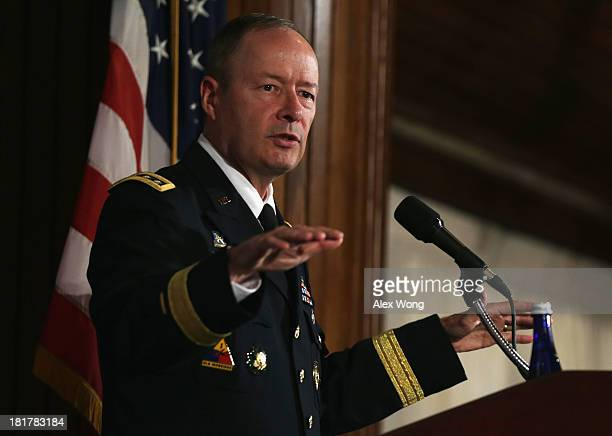 Commander of U.S. Cyber Command and director of the National Security Agency General Keith Alexander speaks during the fourth annual Cybersecurity...