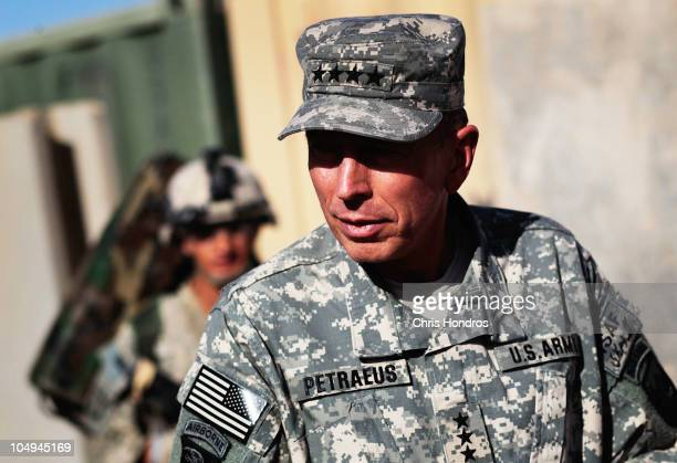 Commander of US forces in Afghanistan General David Petraeus walks on Forward Base Wilson October 7 2010 west of Kandahar Kandahar Province...