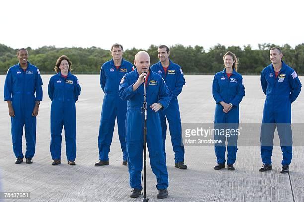 Commander Scott J Kelly introduces the Space Shuttle Endeavour astronauts mission specialists Alvin Drew Jr former teacher Barbara R Morgan Canadian...