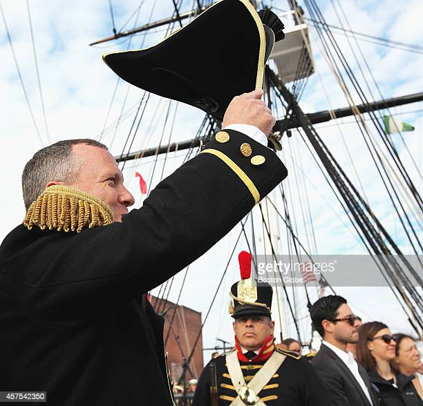 Commander Sean Kearns captain of the USS Constitution greeted honored guests as the ship prepared to leave for a turn around at Castle Island in...