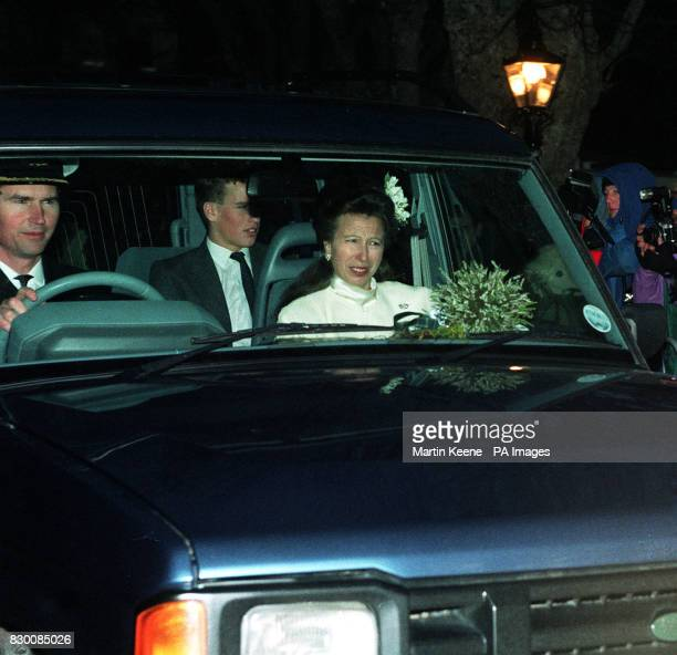 Commander Tim Laurence and the Princess Royal with her son Peter Phillips leave after their wedding at Craithie Church near Balmoral