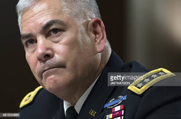 Commander US Forces Afghanistan General John Campbell testifies before the Senate Armed Services Committee on Capitol Hill in Washington DC October 6...