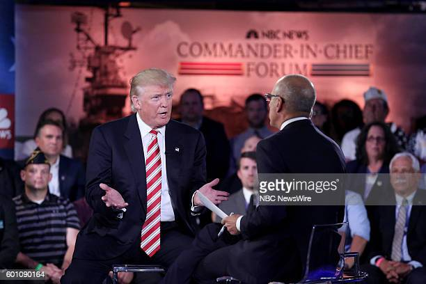 COVERAGE CommanderInChief Forum Pictured Presidential Candidate Donald Trump and Matt Lauer on Wednesday September 7 2016 on the Intrepid in New York...