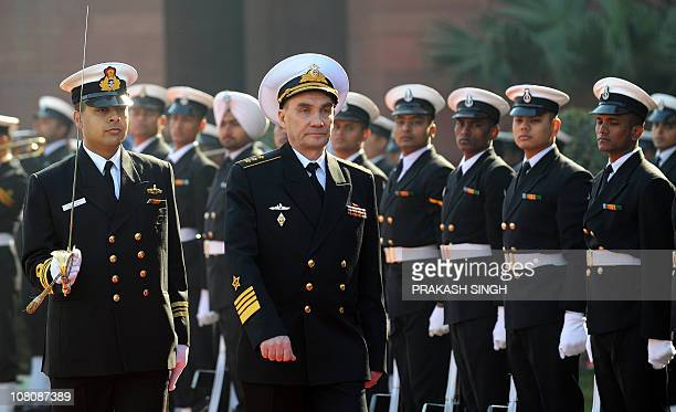 CommanderinChief of Russian Navy Admiral Vladimir Vysotsky inspects a guard of honor prior to his meeting with Indian Chief of Naval Staff Admiral...