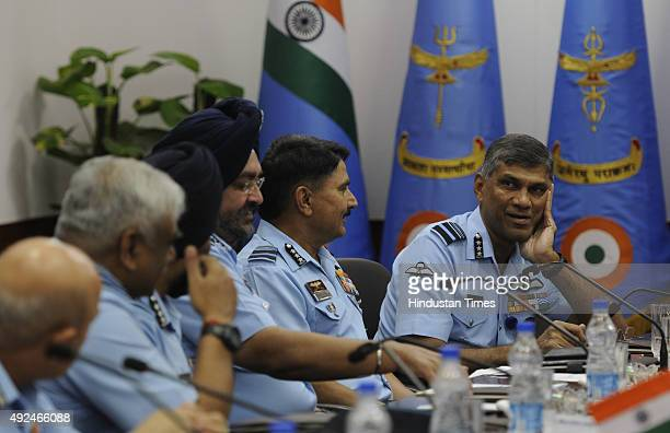 Commanders and Air Marshal attend the inaugural session of Indian Air Force Commanders Conference at Air Headquarters on October 13 2015 in New Delhi...