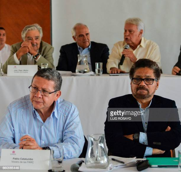 FARC commanders Pablo Catatumbo and Ivan Marquez Uruguayan former President and guerrillas Jose Mujica Colombian former president Ernesto Samper and...