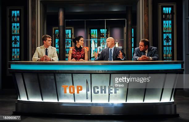 TOP CHEF Commander's Palace Episode 1103 PIctured Judges Hugh Acheson Padma Lakshmi Tom Colicchio Emeril Lagasse