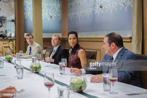 TOP CHEF Commander's Palace Episode 1103 PIctured Judges Hugh Acheson Tory McPhail Padma Lakshmi Emeril Lagasse at Commander's Palace Restaurant