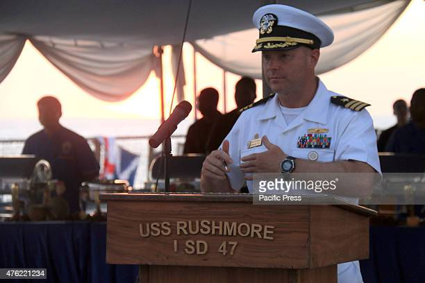 Commanding officer of USS Rushmore CDR Thomas S.Stephens.,was on the deck of the warship destroyer USS Rushmore of the United States, which was...