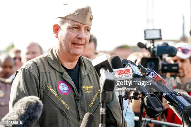 Commanding Officer Timothy F Kinsella Jr speaks at a press conference following a shooting on the Pensacola Naval Air Base on December 06 2019 in...
