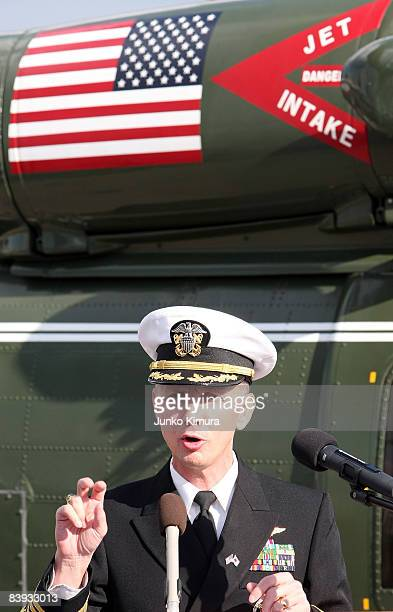 Commanding Officer Tom Burke speaks during a press conference on USS Blue Ridge at Harumi Pier on December 6, 2008 in Tokyo, Japan. The warship,...