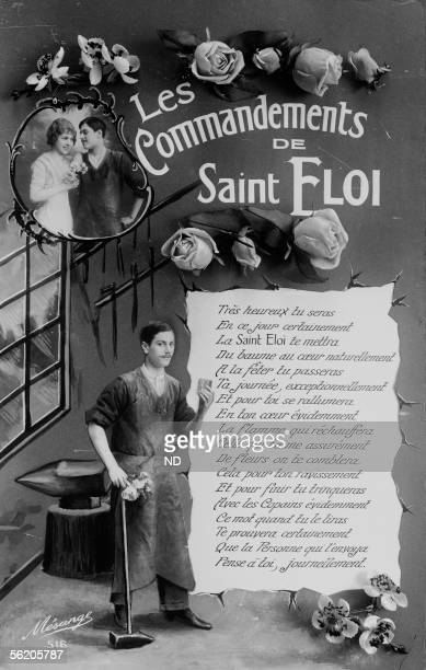 Commandments of Saint Eloi patron of blacksmiths Fancy postcard about 1900