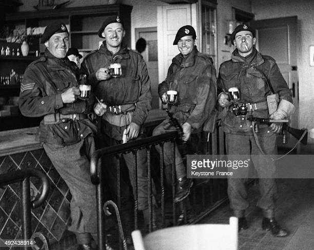 Commando of the British navy celebrating the capture of a German barracks at the bar on April 25 1945 in Buxtehude Germany