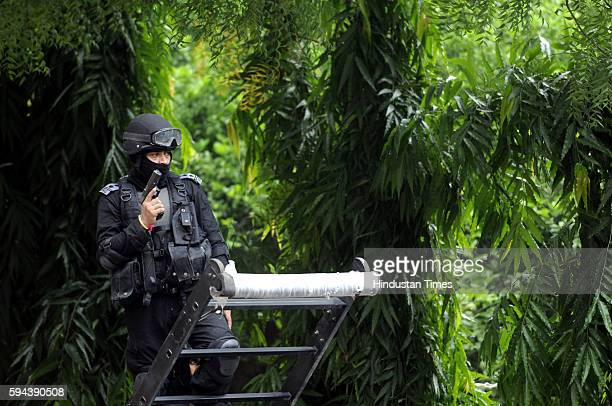 NSG commando performing a drill after Home Minister Rajnath Singh inaugurated the composite building for commandos at 52 SAG Samlakha Camp on August...