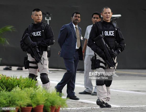 Commandos of elite SPG force stand guard with F2000 Assault Rifles during the speech by Prime Minister Narendra Modi on the occasion of 68th...